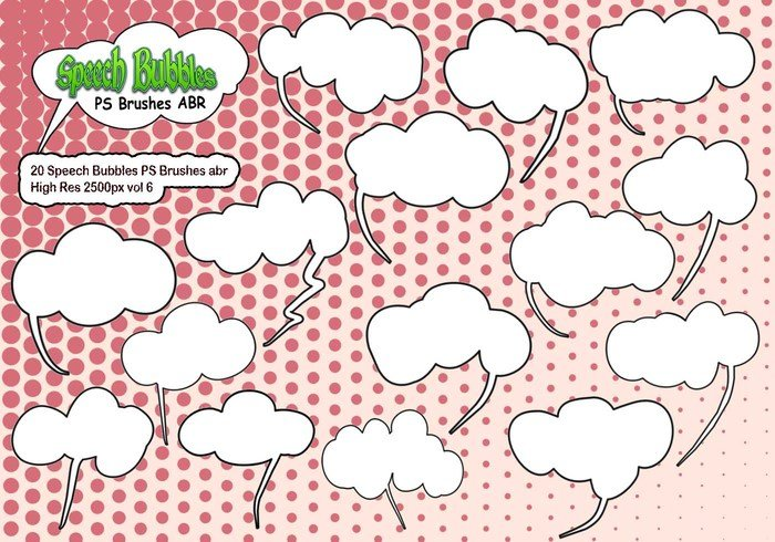 20 Speech Bubbles PS Brushes abr vol 6