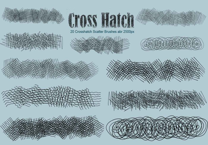 20 Crosshatch Scatter PS Brushes abr