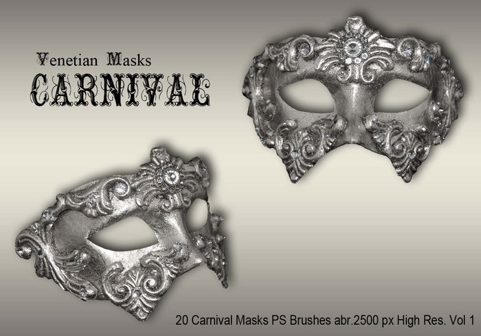 20 Máscaras de carnaval PS Brushes abr.vol.1