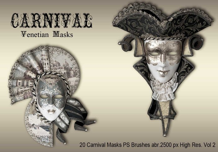 20 Carnival Masks PS Brushes abr.vol.2