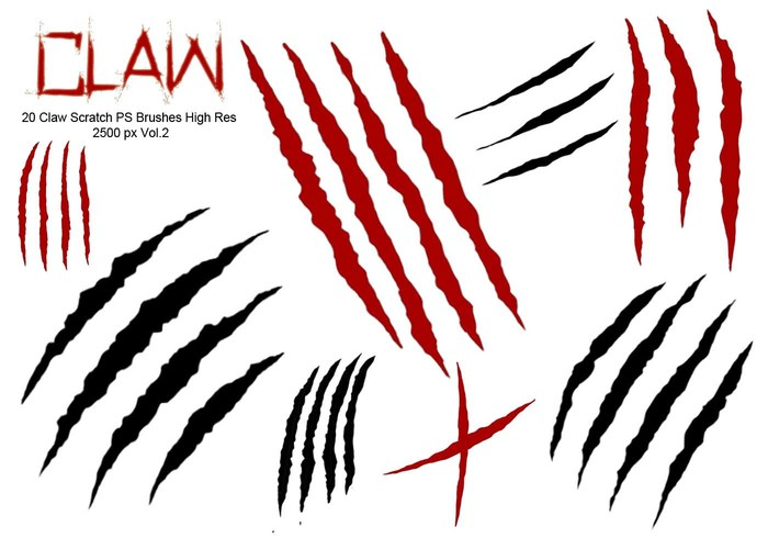 20 Claw Scratch PS Brushes abr. vol.2