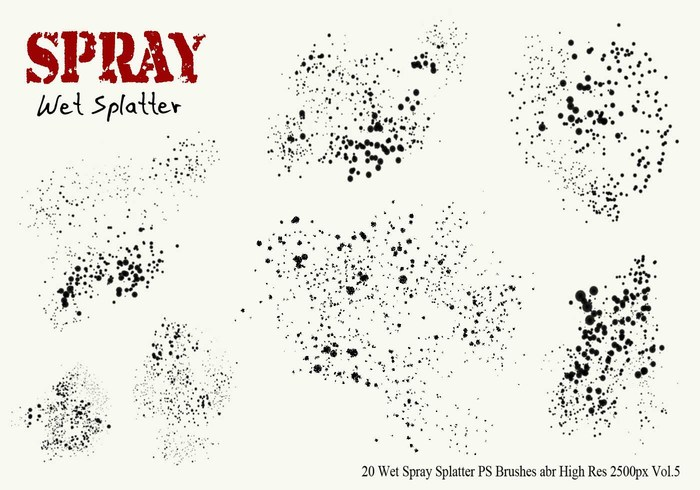 20 Wet Spray Splatter PS Brushes Vol.5