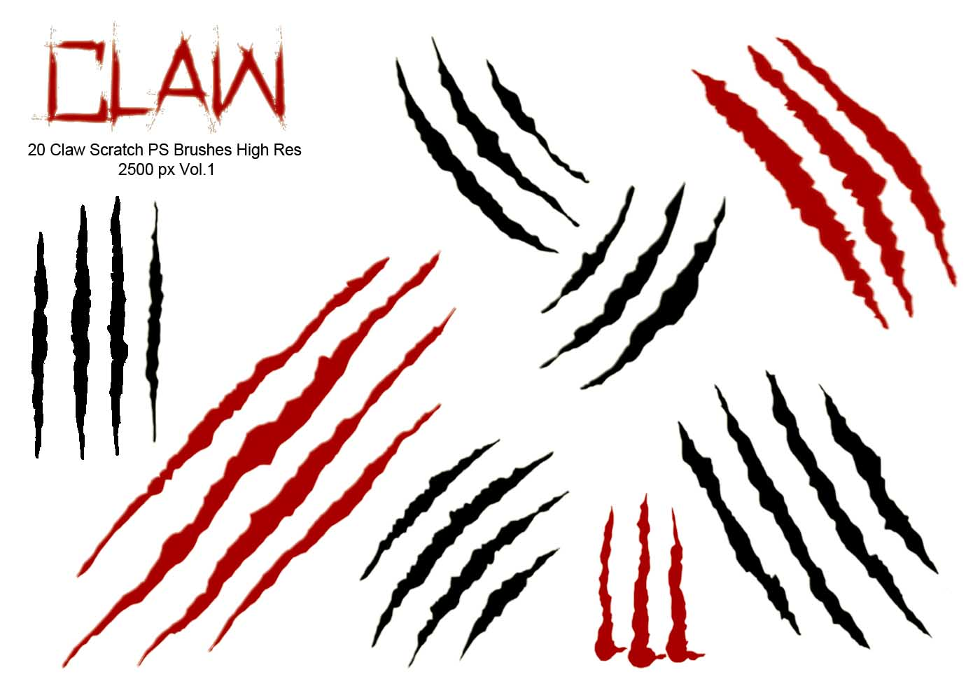 20 Claw Scratch PS Brushes abr. vol.1 - Free Photoshop ...