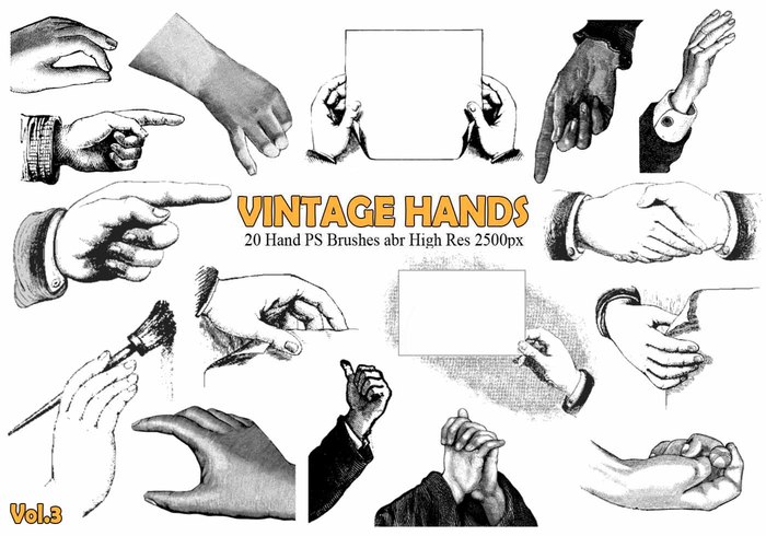 20 Vintage Hand PS escova abr.Vol.3