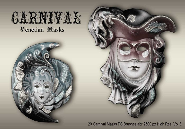 20 Máscaras de carnaval PS Brushes abr.vol.3