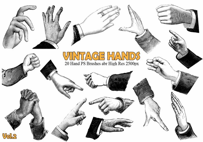 20 Vintage Hand PS Brushes abr. Vol.2