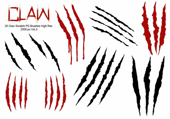 20 Claw Scratch PS Brushes ABR.  vol.3