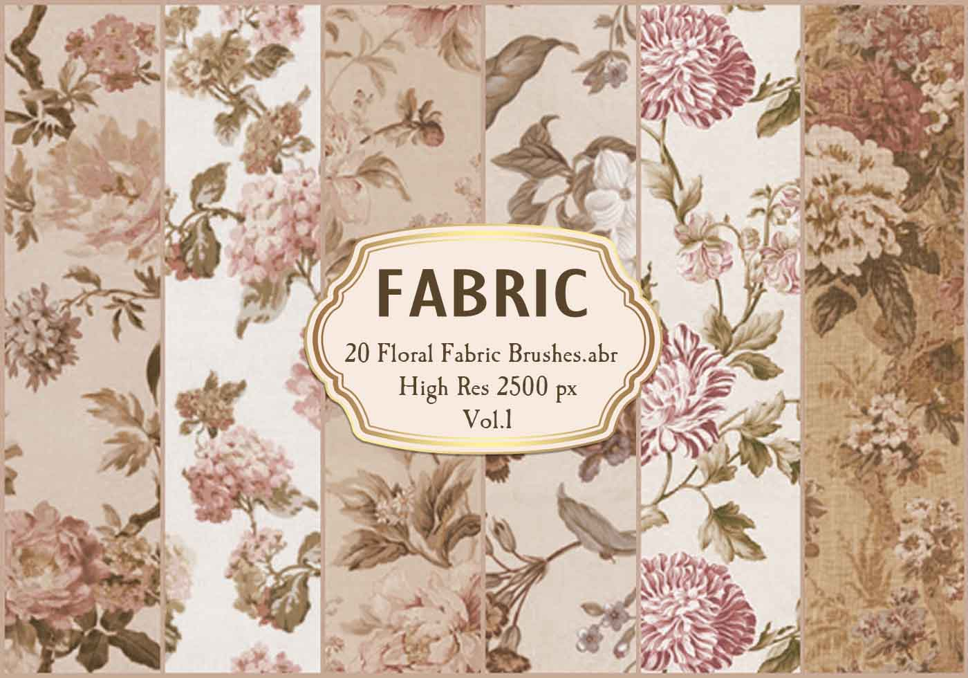 20 Floral Fabric Brushes Abr Vol 1 Free Photoshop