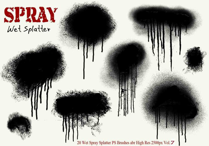 20 Ink Drip Paint Spray Splatter PS Brushes Vol.7