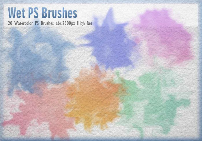 20 masque d'aquarelle brosses PS abr
