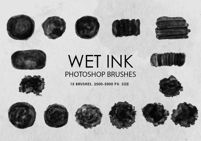Free Wet Ink Pinceles para Photoshop