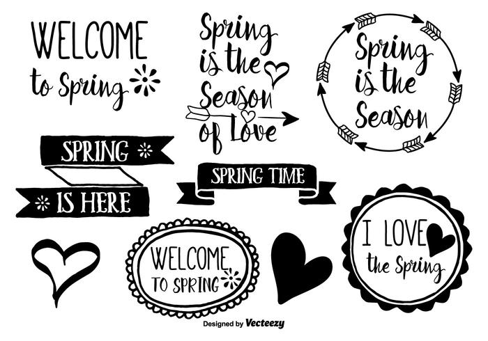 Hand Drawn Spring Brush Labels