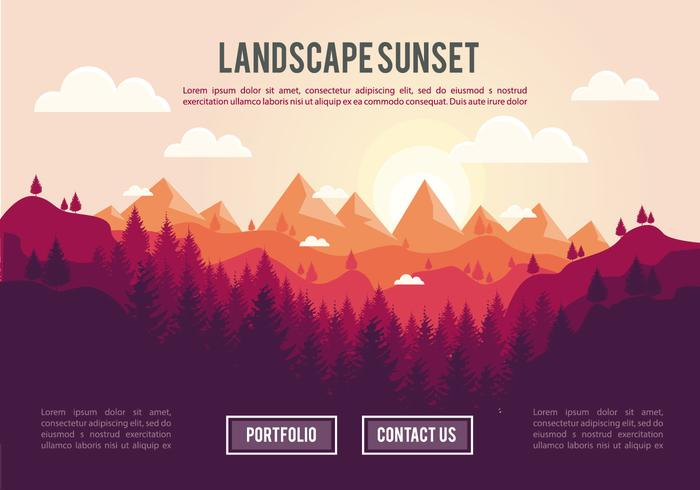 Landscape sunset psd background