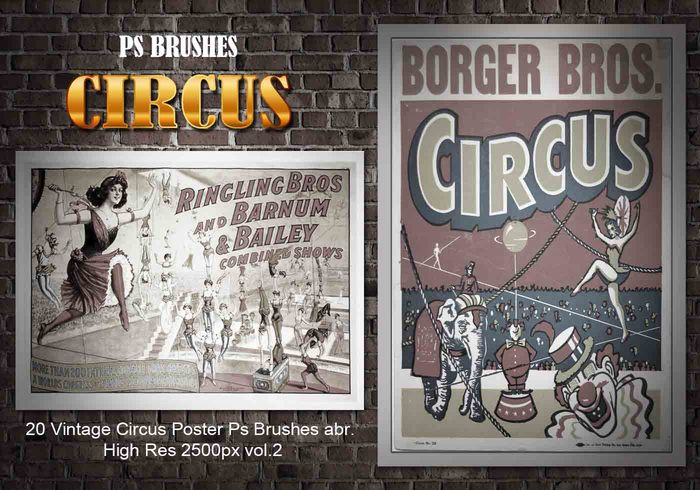 20 Vintage Circus Poster Ps Brushes vol.2