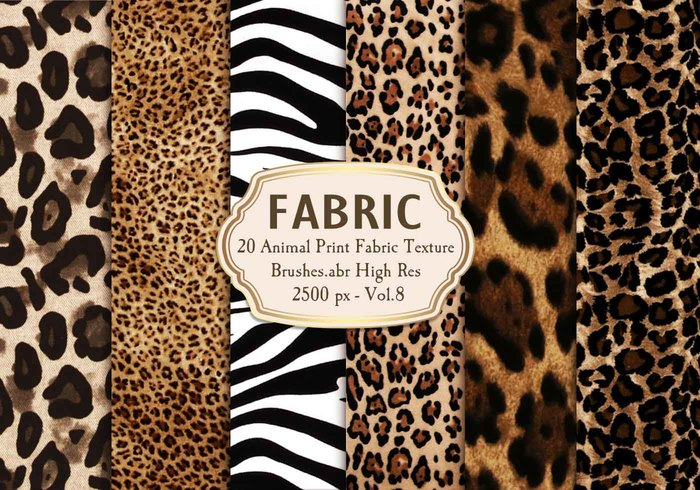20 Animal Print Fabric Brushes.abr Vol.8