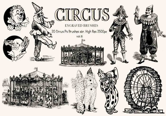 20 Engraved Circus Ps Brushes vol.6