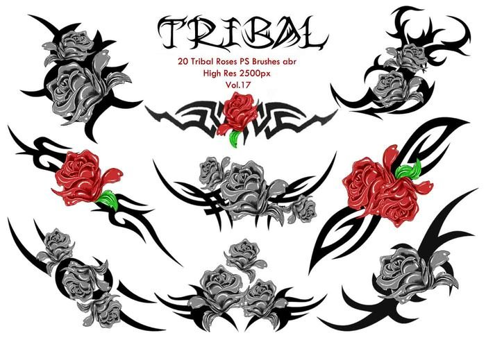 20 Tribal Roses PS Brushes Vol.17