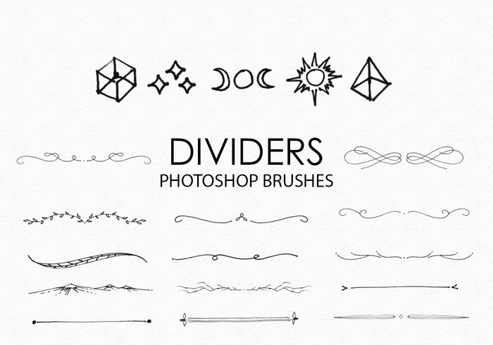 Gratis Handgetekende Dividers Photoshop Borstels