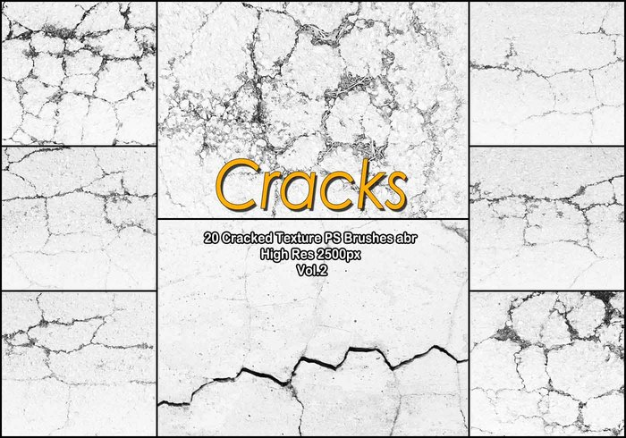 20 Cracked Concrete PS Brushes abr. vol.2