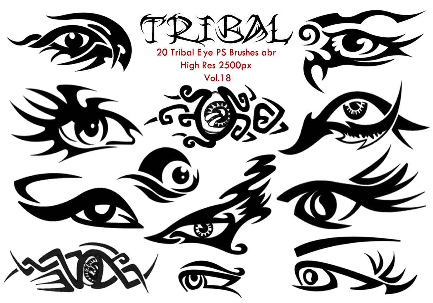 57839 20 Tribal Eye Ps Brushes Vol 18 on Tattoo Designs Free Rose