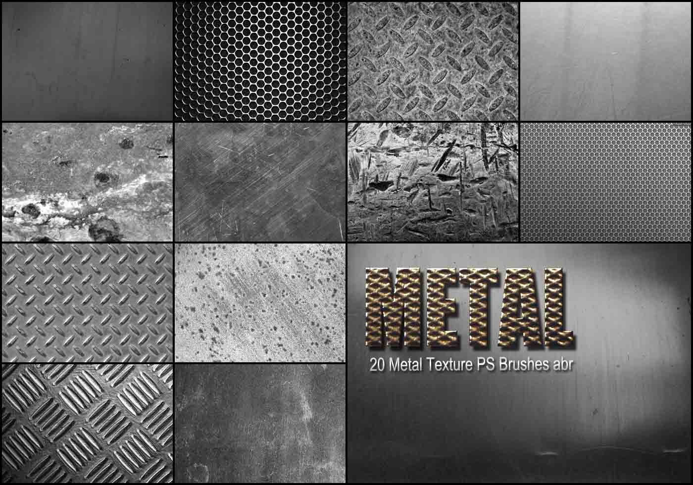20 Metal Texture Ps Brushes Abr Vol 3 Free Photoshop