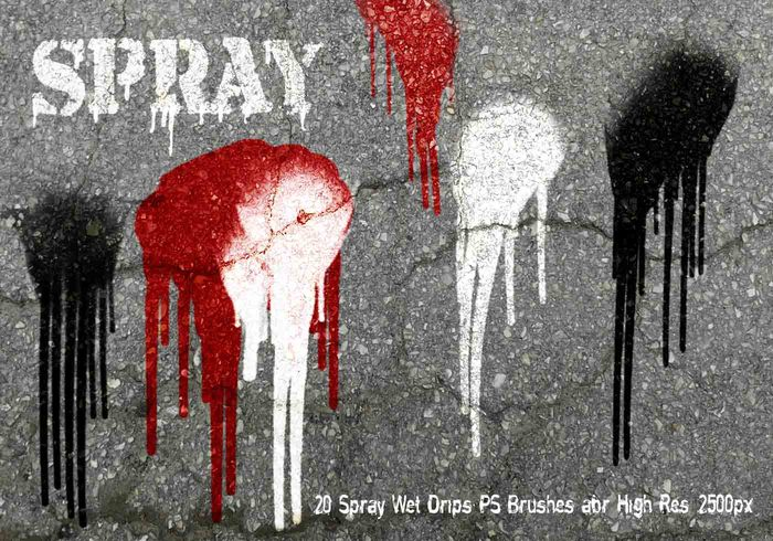 20 Spray Wet Drips PS Brushes Vol.9