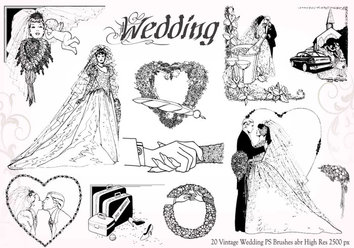 20 Vintage Wedding PS Brushes abr vol.6