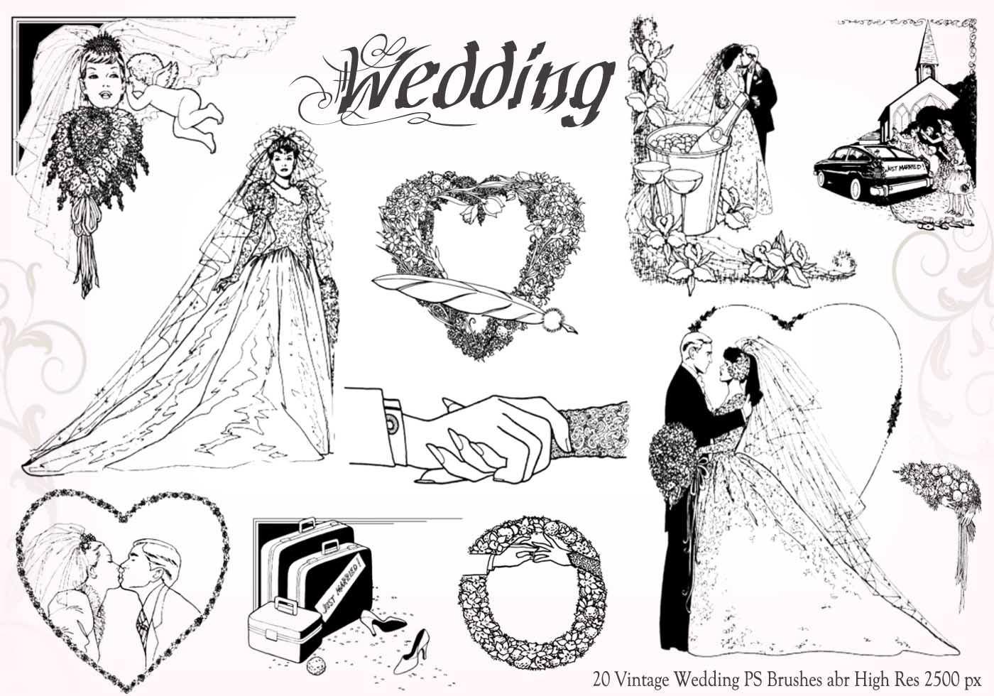 20 Weinlese-Hochzeits-PS-Bürsten abr vol.6 - Kostenlose Photoshop ...