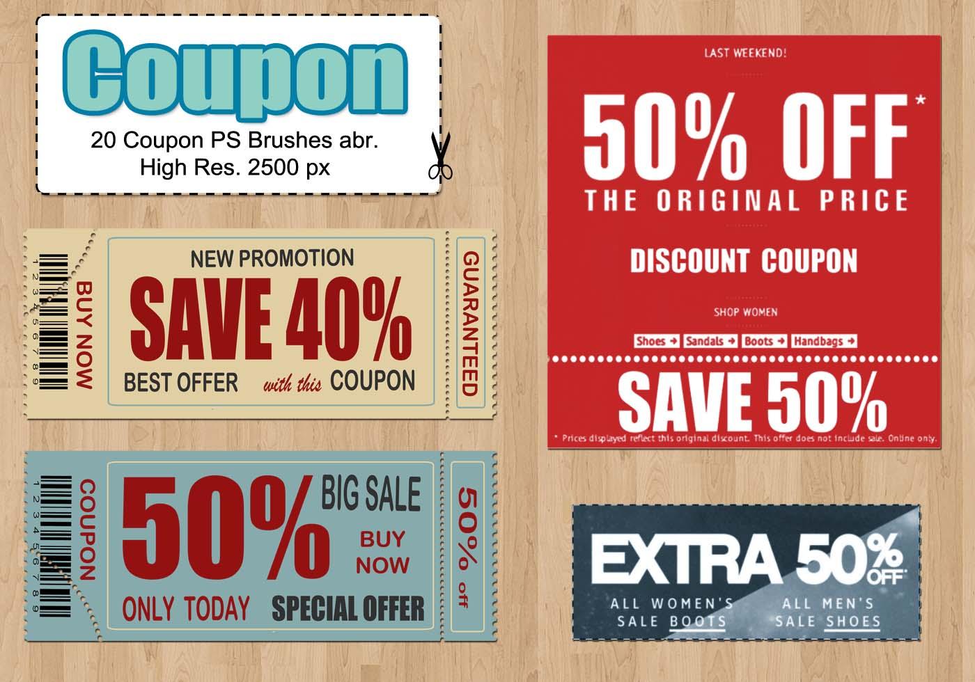 20 coupon ps brushes free photoshop brushes at brusheezy. Black Bedroom Furniture Sets. Home Design Ideas