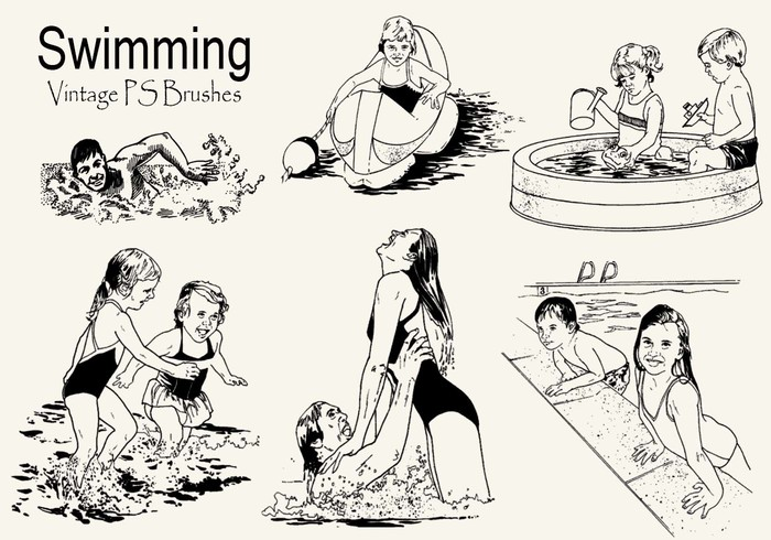 20 Vintage Swimming PS Pinceles abr