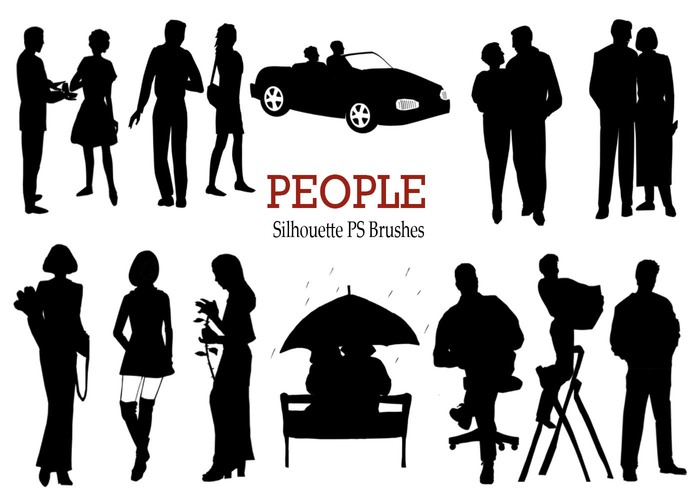20 Personnes Silhouette PS Brushes vol.1