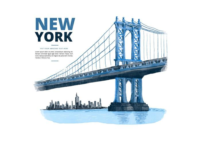 New York Manhattan Bridge Watercolor PSD