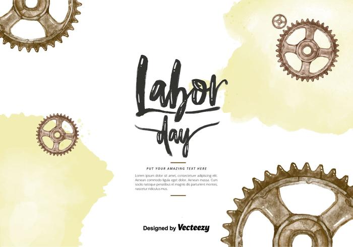 Labor Day Gears Watercolor PSD