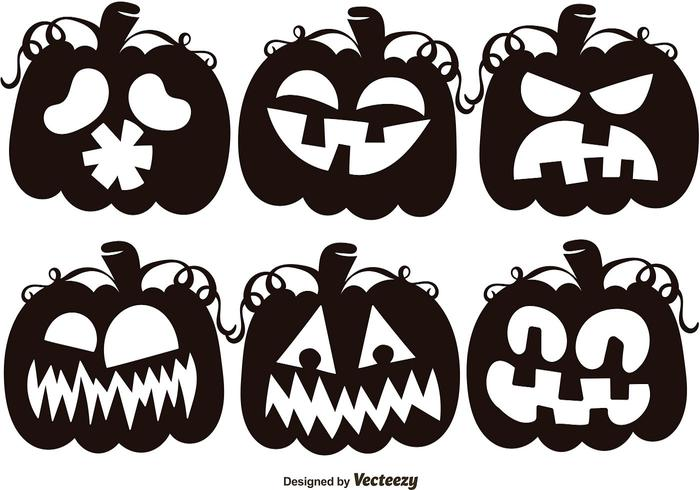 Set Of Black Jack O Lantern Silhouettes Brushes