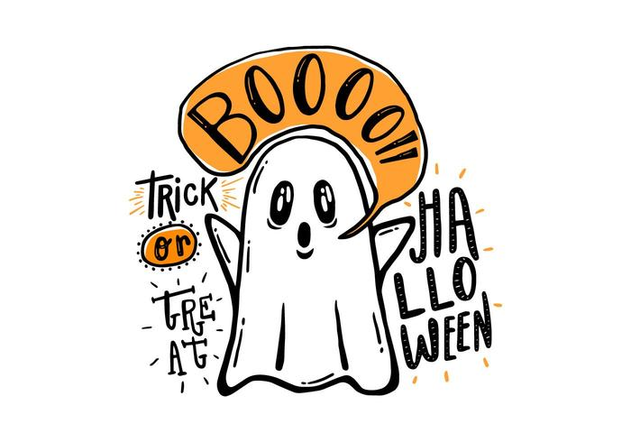 Halloween Hand Drawn Ghost PSD