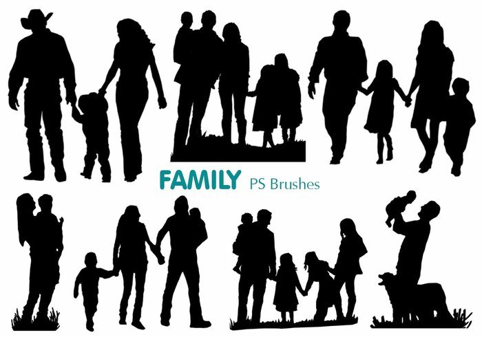 20 Family Silhouette PS Brushes abr.vol.1