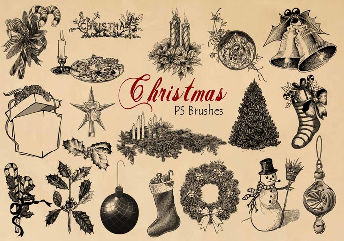20 Engraved Christmas PS Brushes abr.vol.8