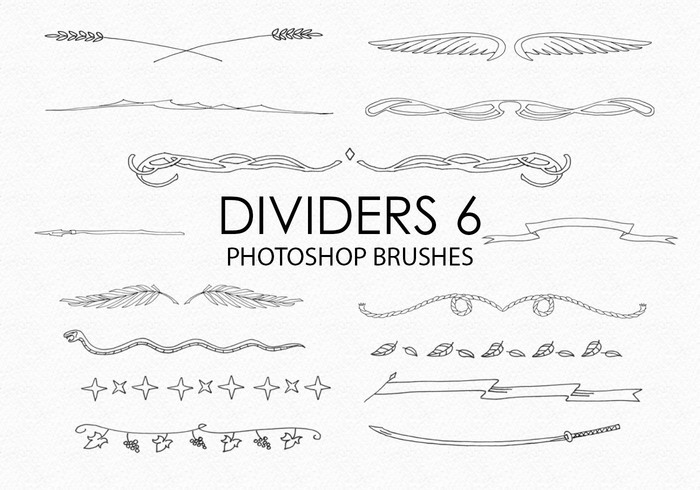 Free Hand Drawn Dividers Pinceles para Photoshop 6