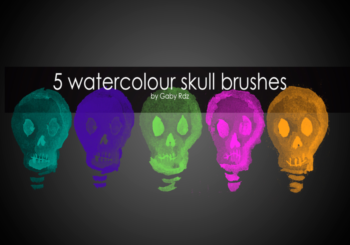 5 Handpainted Watercolour Skull Brushes