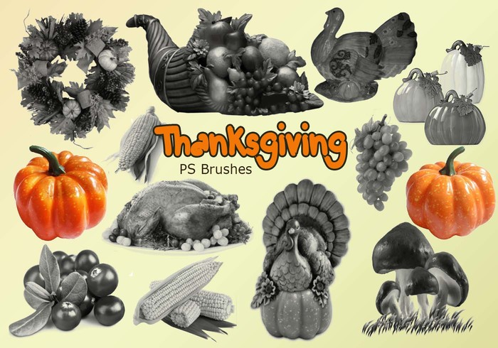 20 Thanksgiving PS Brushes abr. Vol.1