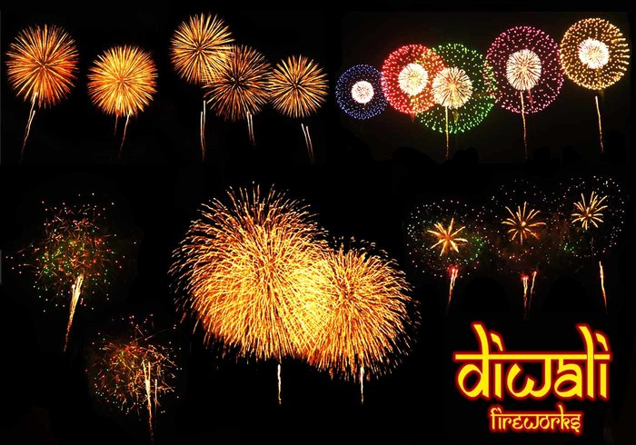 20 Diwali Fireworks PS Brushes abr. Vol.4