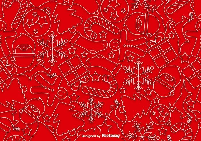 Iconos de estilo de línea de Navidad sin fisuras patrón