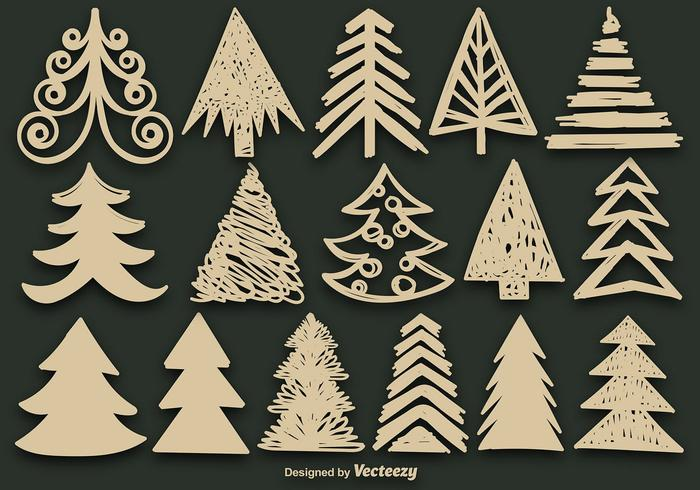 Hand Drawn Christmas Tree Brush Set