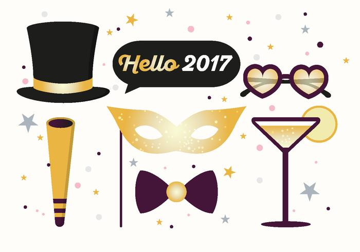 Hallo 2017 Nieuwjaar PSD Illustratie