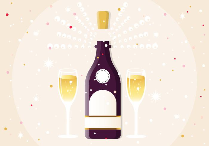 Nyår Champagne PSD Illustration