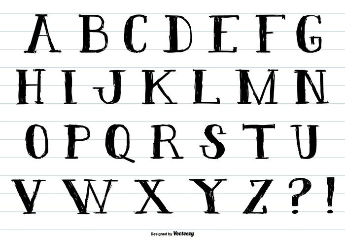 Hand Drawn Ink Style Alphabet PSD