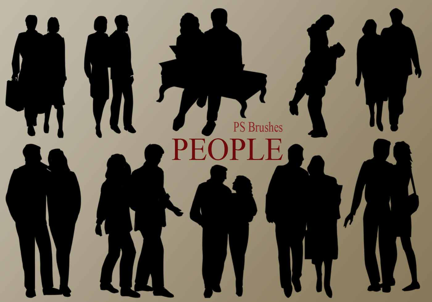 20 People Silhouette Ps Brushes Vol 5 Free Photoshop