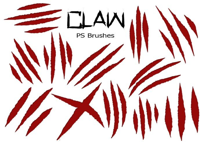 20 Claw Scratch PS Brushes ABR. vol.6