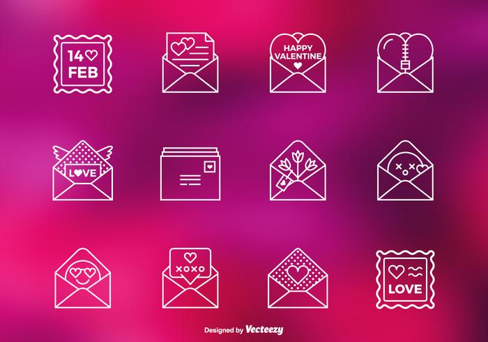 Valentine Love Letter PSD Line Icons