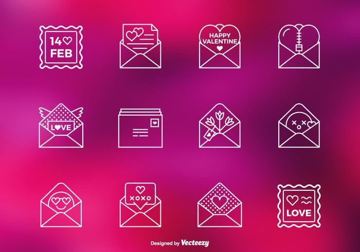 Valentijnsbriefbriefjes PSD Lijnpictogrammen